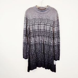 Style & Co Tunic Sweater XL Black & Gray New